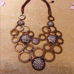 Statement necklace bronze tone/ rhinestones